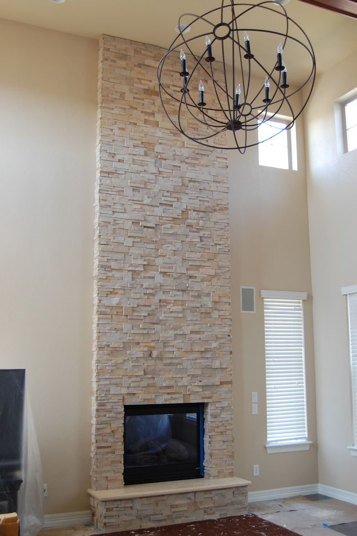 Painted Stacked Stone Fireplace Stack