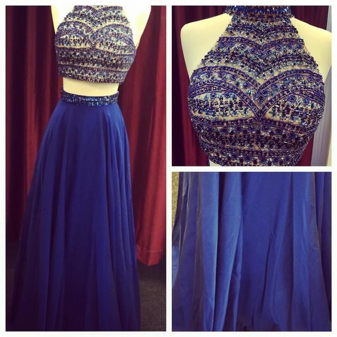Beading Two Pieces Handmade Prom Dress,Long Prom Dresses,Prom Dresses,Evening