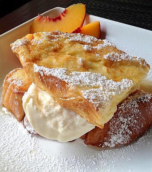 Challah French toast, burrata, sliced peaches