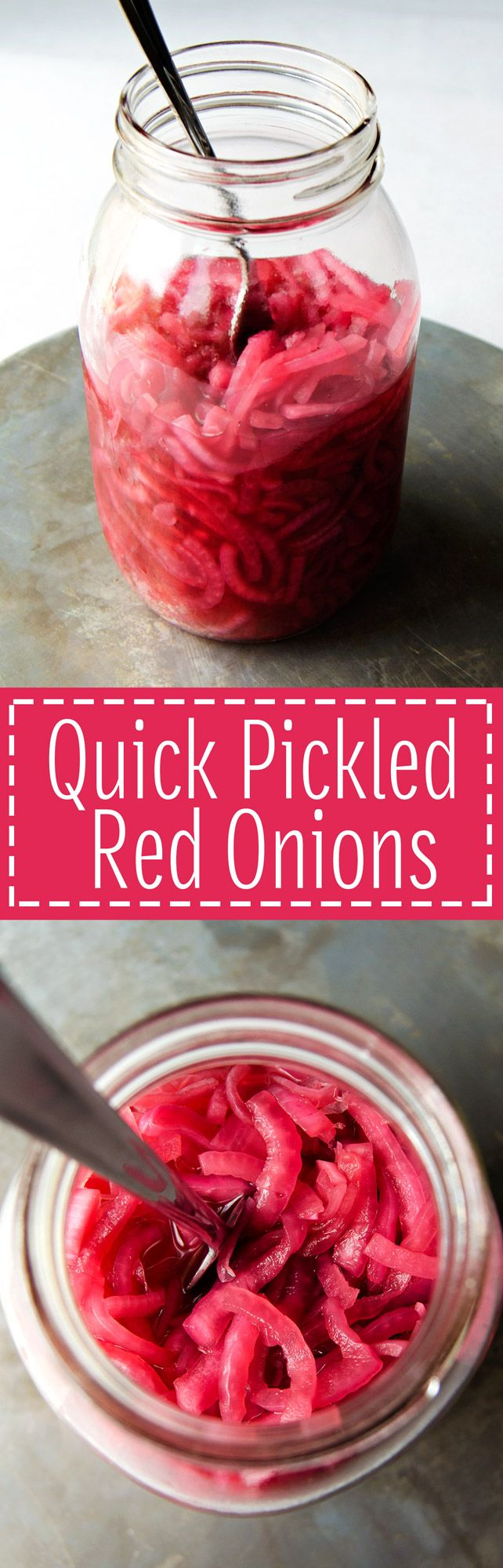 Quick Pickled Red Onions - How to make super easy quick pickled onions that are tangy and packed with flavor. (Vegan & GF) | RECIPE at NomingthruLife.com