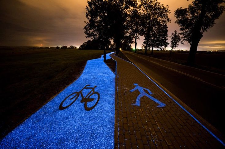 Poland's first illuminated cycling path was created by TPA Instytut Badań Technicznych Sp. z o.o. The result is a 100 meter (328 feet) pathway that glows blue after dark due to a special synthetic material that gathers energy throughout the day from visible, ultraviolet, and infrared light. These luminophores, or particles, then emit light in a variety of colours. The particles hold enough energy to glow for about 10 hours.