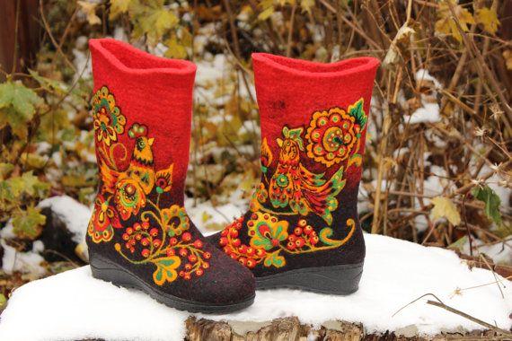 Chaussures dhiver laine feutrée bottes de feutre de neige