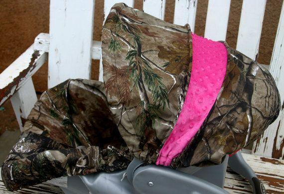 Realtree and hot pink car seat cover and hood/ canopy cover on Etsy, $37.00