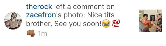 "Dwayne ""The Rock"" Johnson Calls Out Zac Efron's ''Nice Tits'' on Instagram  Zac Efron, The Rock, Instagram"
