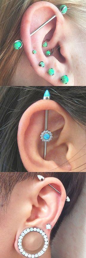 Cool Ear Piercing Ideas at MyBodiArt.com - Opal Industrial Barbell - Rook Horseshoe Ring - Daith Hoop