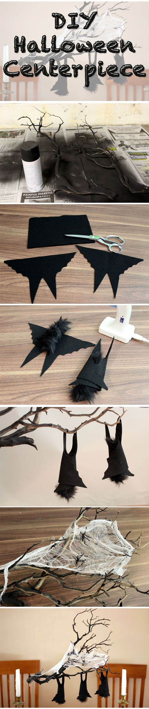 Hanging felt bats on a dry twisted brand make the perfect Halloween centerpiece.