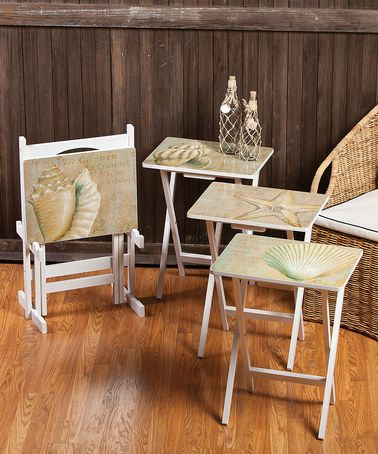 Another great find on #zulily! À La Plage TV Tray Set #zulilyfinds