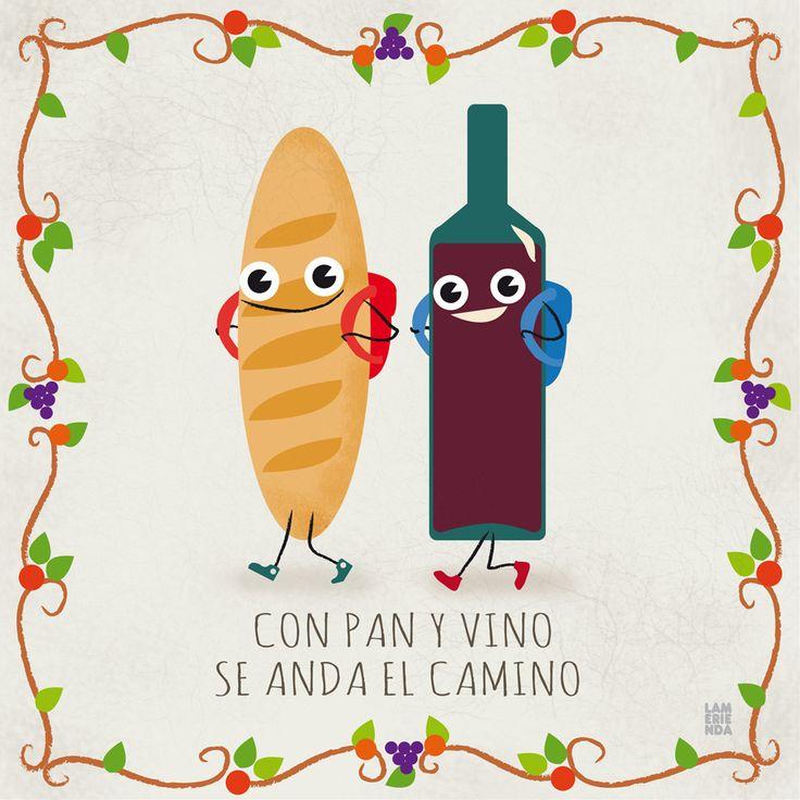 Pan y vino #refran #illustration