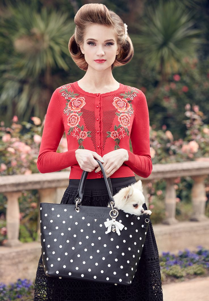 Rose Romance Cardi    Red   Cardigan Russian Romance Skirt   Black   Skirt  La Belle Tote Bag   Black and Cream   Bag