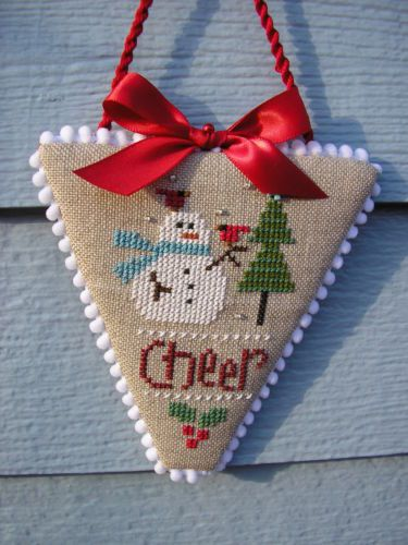 Finished Completed Lizzie Kate Snowman Cheer Cross Stitch Christmas Ornament | eBay