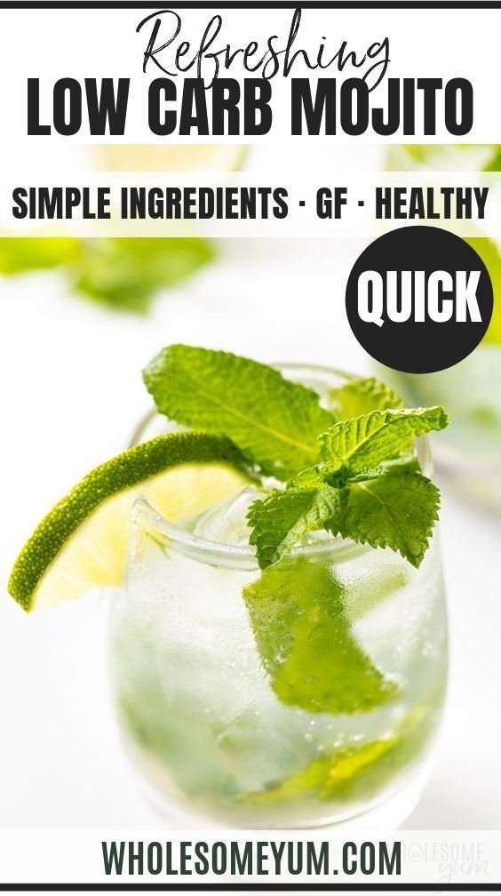This Sugar Free Low Carb Skinny Mojito Recipe Has Just 3 Grams Carbs And Is Incredibly Refreshin Skinny Mojito Recipe Sugar Free Low Carb Low Carb Diet Recipes