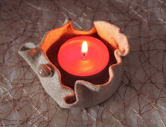 Porta candela. Candela di sabbia. Portacandela di Fantasiedisabbia