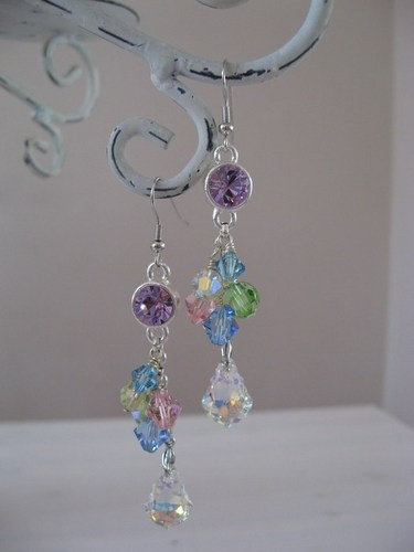 Spring colors dangle earrings with Swarovski Elements