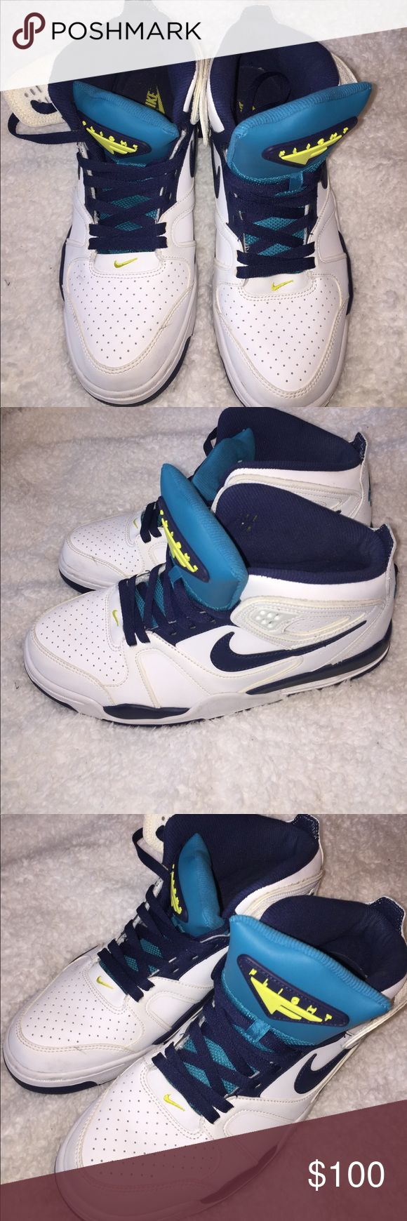 Nike Air flight falcon Basketball shoe Condition: Preowned. Worn once    Color: white, navy, turqoiuse and lime green    Measurements:   Materials:   Suggested Styling tips: Nike Shoes Sneakers