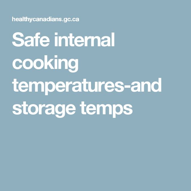 Safe internal cooking temperatures-and storage temps