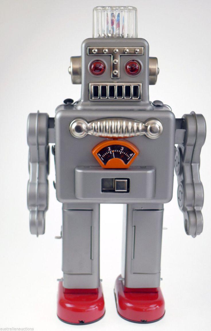 Toys For Robots : Robot silver smoking s retro repro collectors tin