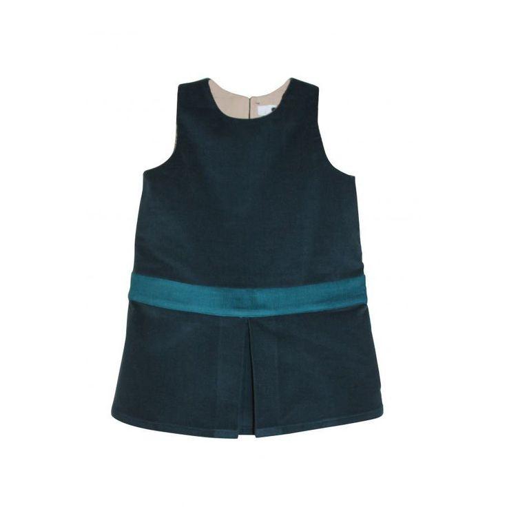 Robe enfant velours coton bio: robe chou bleu de minuit avec sa ceinture vert canard, juste sublime! 100% velours milleraies bio fabriquée en France http://www.risurisu.fr/s/32942_210031_robe-coton-bio-enfant