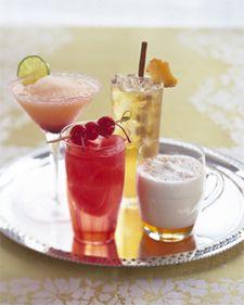 virgin drinks: margaritas, apple-ginger sparkler, spiced steamed milk and cherry bomb