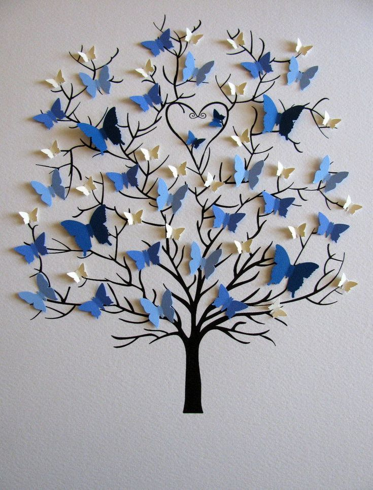 8X10 Family Tree of Butterflies in YOUR Choice of Colors for Each Generation / Parents, Grandparents / Personalized / Made to Order