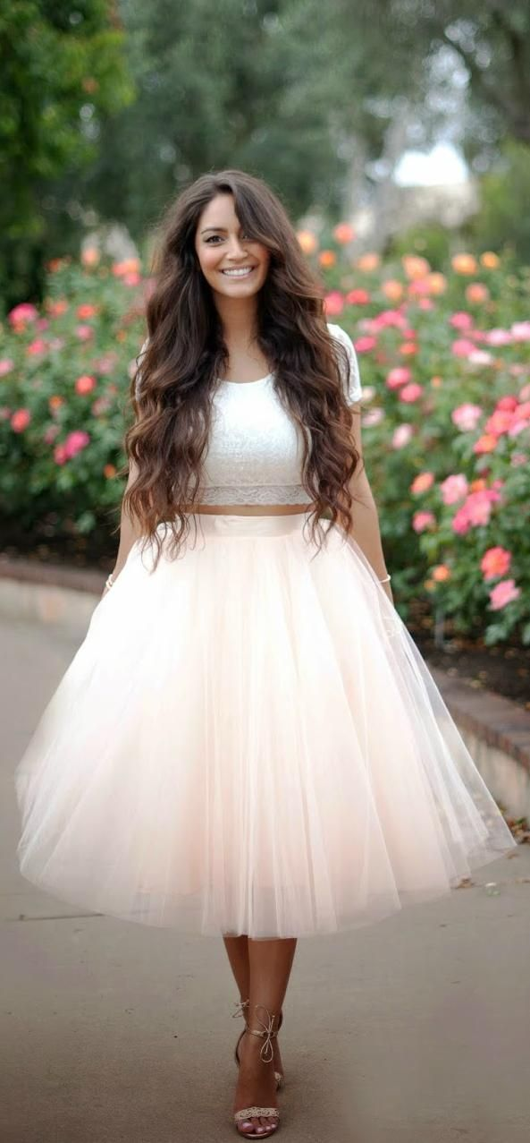 Lace crop top and pastel tulle skirt