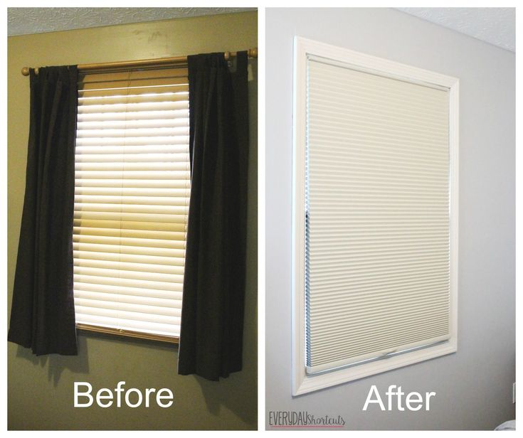 Before and after pics of blinds in the master bedroom