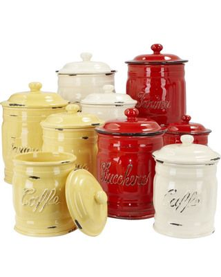 Colorful, hand-distressed ceramics are perfect for keeping frequently used staples fresh on the countertop. Dishwasher safe. Made in Italy.
