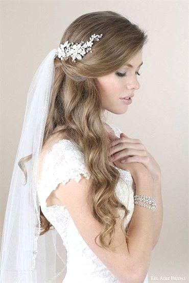 4. Half-Up, Half-Down bridal Hairstyles with veil #BridalHair