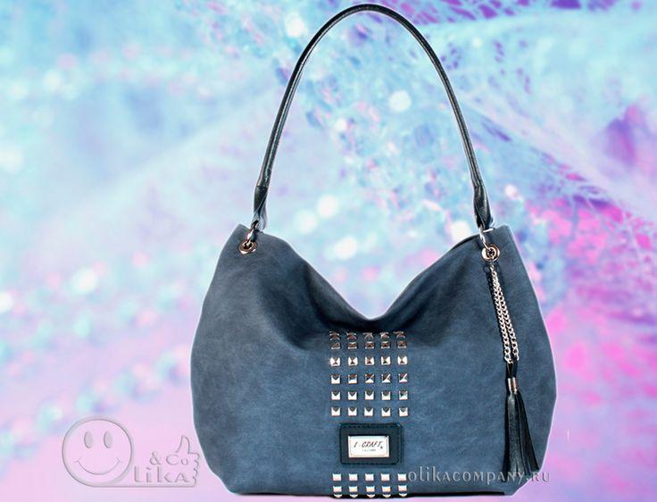 Женская сумка 1172-2 кожзам под джинсу с шипами и кисточкой, размеры 36*10*28 см 1700 руб #сумки #сумка #кисточка #женская #шипы