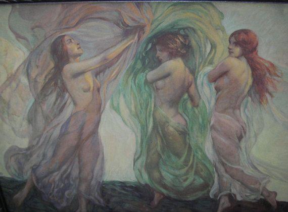 Three nude ladies print