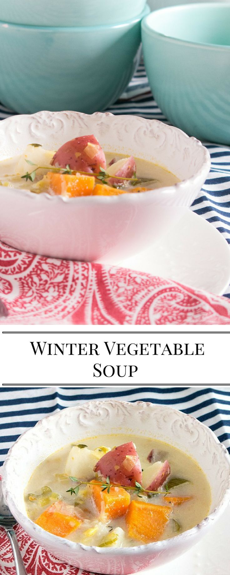 A rich and creamy vegetable soup full of sweet winter vegetables. Large batch, makes enough for a second meal or for the freezer.