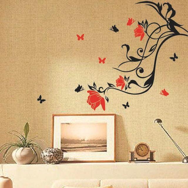 Comprar vid flores y mariposas pegatinas for Pegatinas murales pared