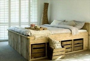 Pallet bed frame with storage crates. pallet ideas (17)