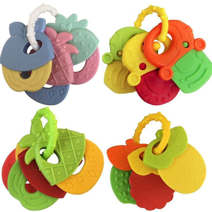 Baby fruit style soft rubber rattle teether toy newborn