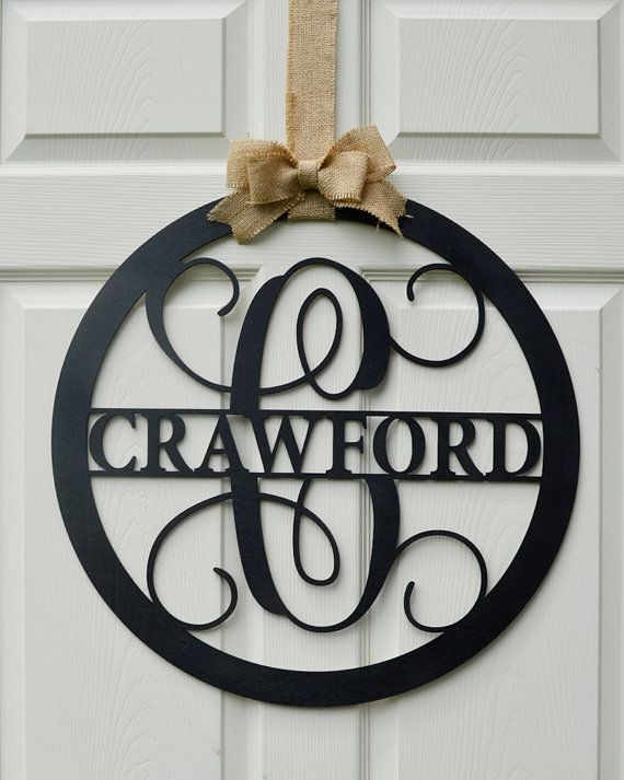 24 wooden letter painted monogram door hanger for Monogram homes