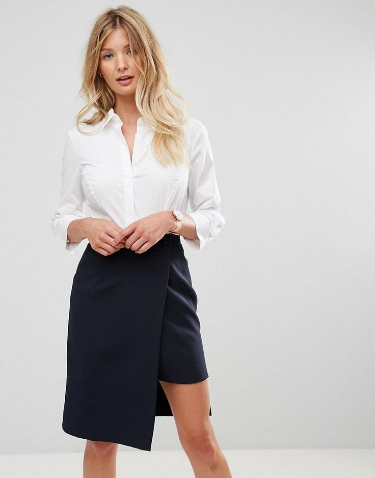 ASOS Fuller Bust 3/4 Sleeve Shirt in Stretch Cotton - White