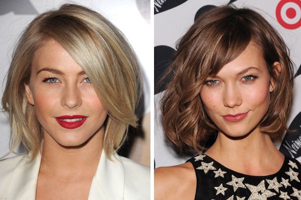 Julianne Hough and Karlie Kloss wearing the trending style for 2013: A swingy, sexy, easy-to-style crop with cool-girl texture.