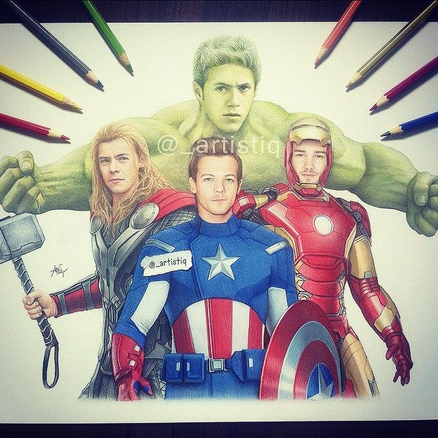 One Direction as The Avengers!  Drawn with colored pencils. Please tag them! ❤️ @onedirection