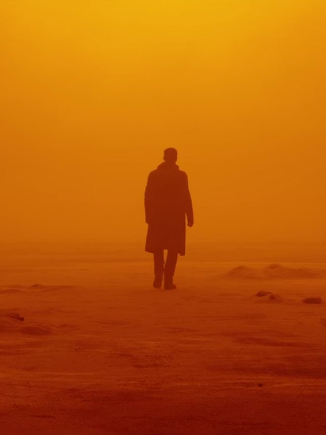 Easily one of my favorite shots from Blade Runner 2049 because the shot is aesthetically pleasing and the colors are so vibrant and reflect almost an apocalyptic feel.