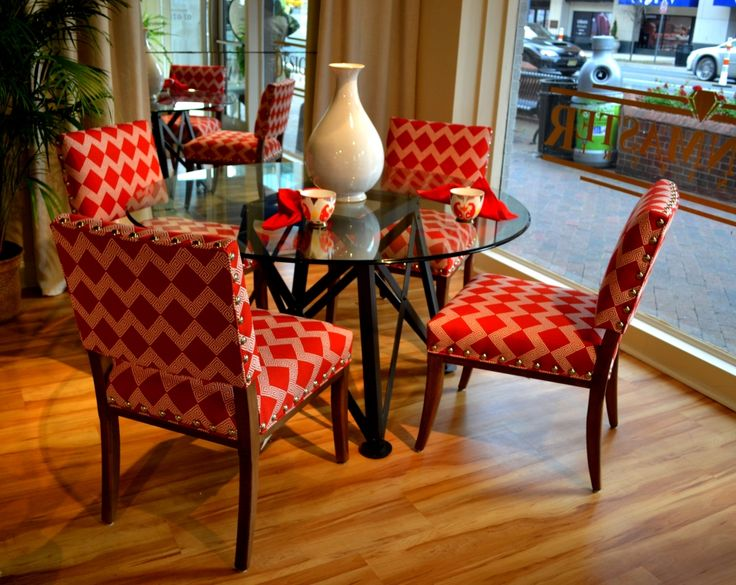 HPMKT Designmaster Furniture Saxton Dining Chairs In New Cardinal Red Geometric Fabric