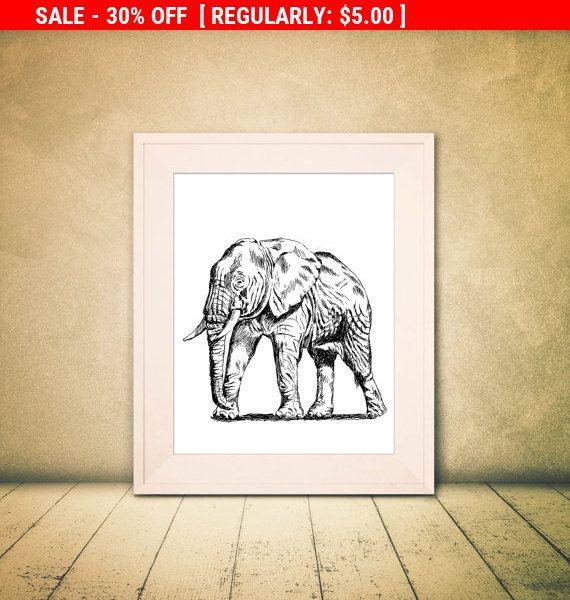 Kunst aan de muur te koop olifant  zwarte en door Rachelsfinelines