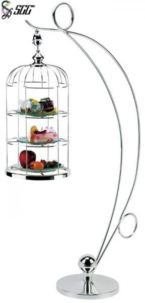 Изображения 3 яруса Послеобеденный чай Подставки, висячие Bird Cage Стиль Послеобеденный чай Стенд торт - buffetdisplaystands