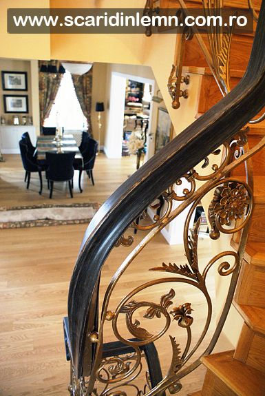 scara de lemn interioara - balustrada - mana curenta lemn curbat