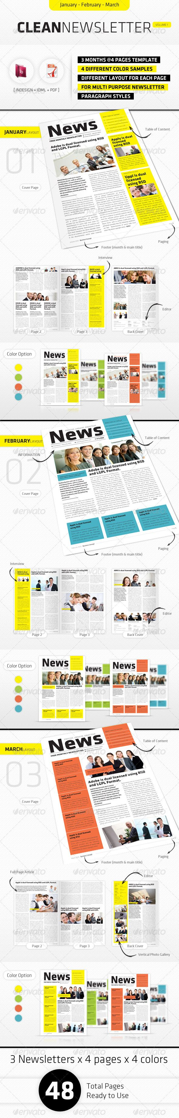 January - March Clean Newsletter Template InDesign INDD. Download here: http://graphicriver.net/item/january-march-clean-newsletter-v1/3450741?s_rank=421&ref=yinkira