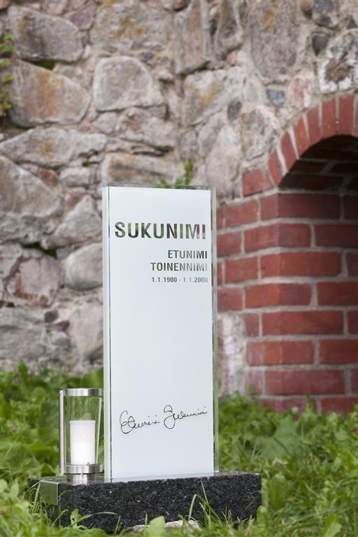 Lasinen hautakivi (malli Usva-Y) Glassy memorial stone / Grave stone glass (model Usva-Y)