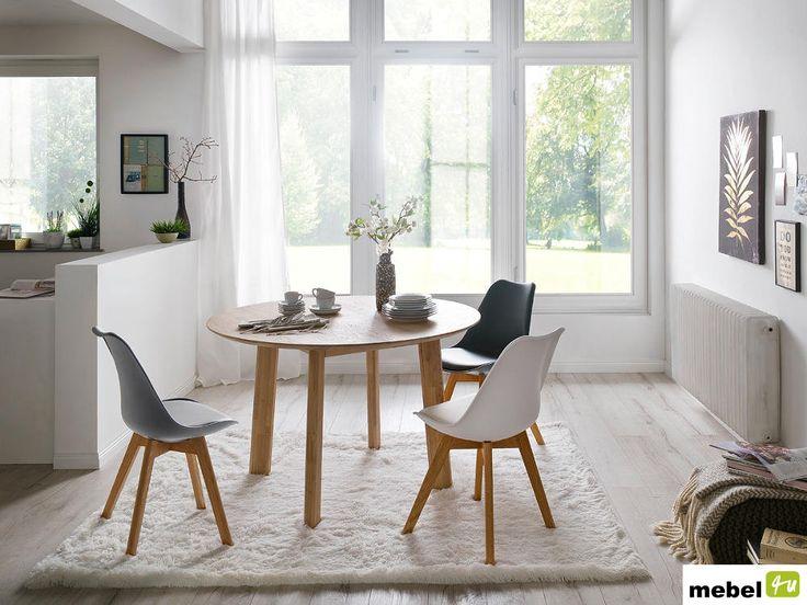 Stół okrągły OVO, dąb bianco / dziki - sklep meblowy
