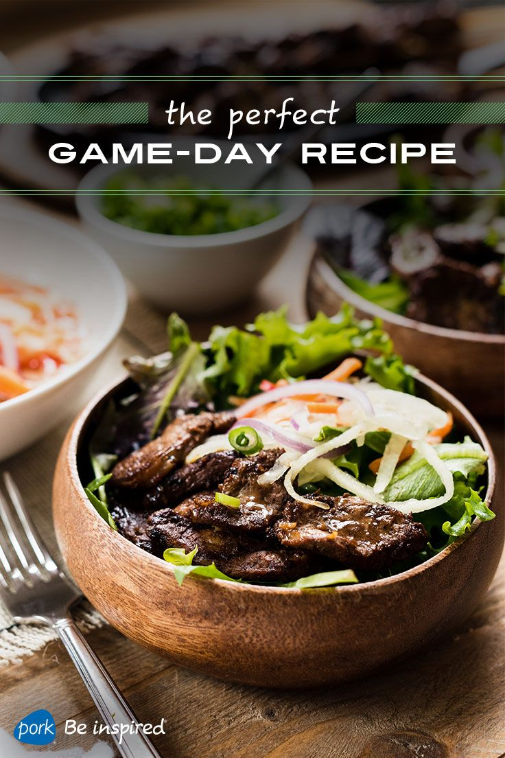 Thinly sliced, grilled pork tenderloin marinated in a bold, tangy sauce is the MVP in this delicious bowl. Serve the slices of barbecued pork over a bowl of mixed greens and top with a green papaya salad. Great for a twist on your traditional game-day menu.