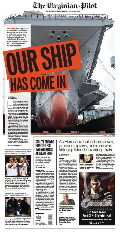 The Virginian-Pilot's front page for Friday, March 13, 2015.