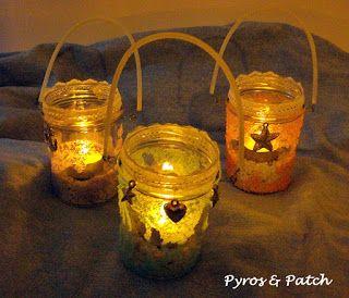 Lanterne decorate con il sale