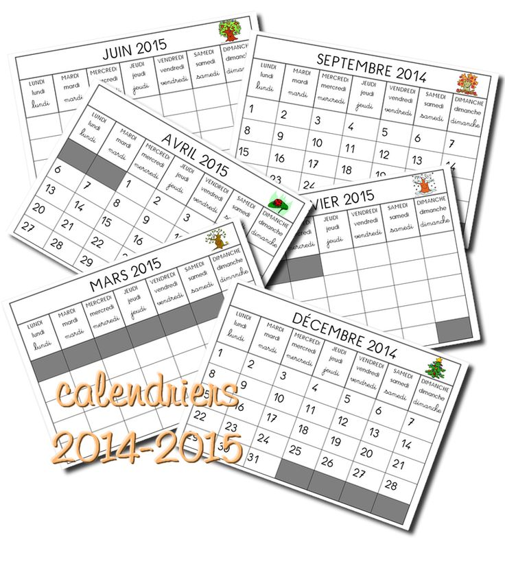 Calendriers 2014 - 2015