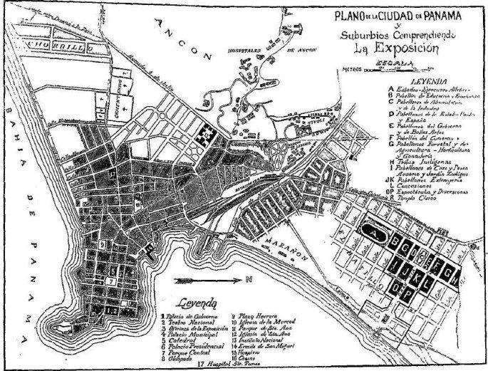Mapa de la Ciudad de Panamá para la época de la Exposición de 1915. (Leyenda se explica por sí sola)